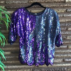 Groovy 80's Purple Blue Sequined Scalloped Top